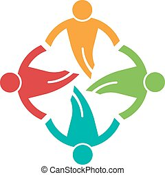 People ground in circle 4 , helping each other. Vector icon
