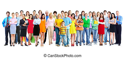 People group. - Big family people group isolated white...