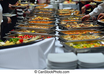 buffet food - people group catering buffet food indoor in ...