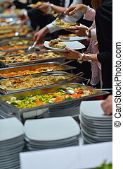 buffet food - people group catering buffet food indoor in...