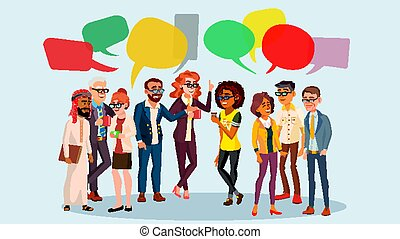 People Group Chat Vector. Business People. Communication Social Network. Social Group.Speech Bubbles. Illustration