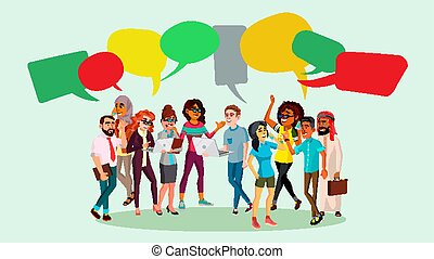 People Group Chat Vector. Businesspeople Discussing. Brainstorming. Talking Communication. Speech Bubbles. Illustration