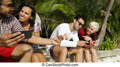 People Group Communication Using Cell Smart Phones Chatting...