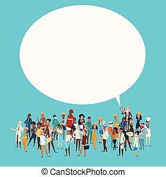 People Group Different Occupation Employees Mix Race Workers With Chat Bubble Network Communication Banner