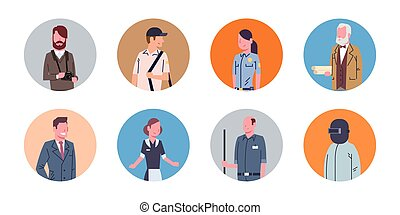 People Group Different Occupation Icons Set Workers Profession Collection