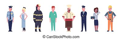 People Group Different Occupation Set Workers Profession Collection