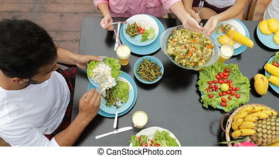 People Group Eating Healthy Vegetarian Food Top Angle View,...