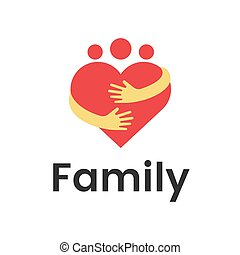 People group family heart hug logo design graphic. Abstract family vector logo template