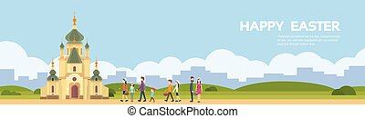 Going to church. Vector illustration of happy children go ...