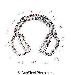 people group headphones cartoon