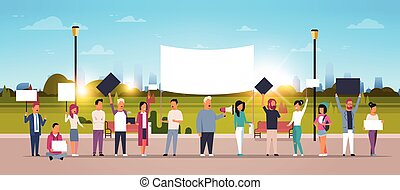people group holding placards and megaphone cityscape background protesting concept full length cartoon characters crowd horizontal flat