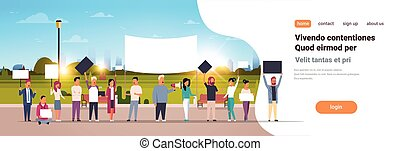 people group holding placards and megaphone cityscape background protesting concept horizontal copy space