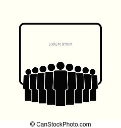 people group icon with banner vector