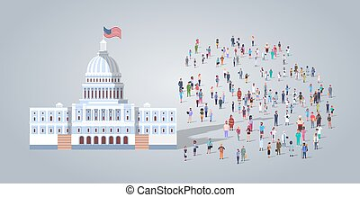 people group near capitol building united states of america senate house washington DC different occupation employees mix race workers crowd election day concept horizontal full length flat