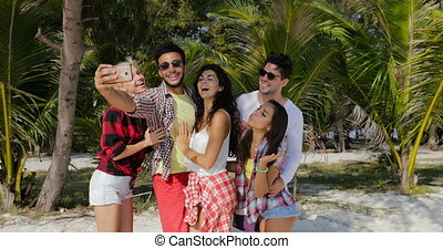 People Group On Beach Take Selfie Photo On Cell Smart Phone,...