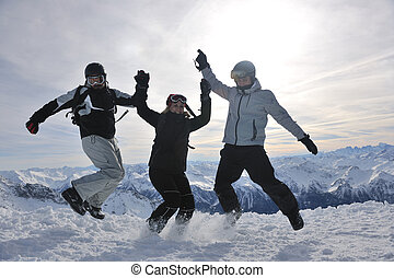 people group on snow at winter season - happy people group...
