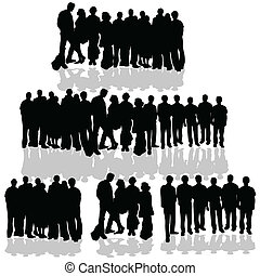people group vector black silhouette on white background