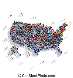 people group shape map USA - Large and creative group of...