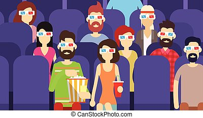 People Group Sit Watching Movie In Cinema 3D Glasses With Popcorn Cola