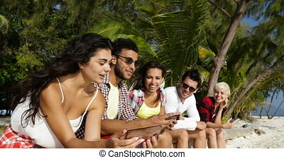 People Group Take Selfie Photo On Cell Smart Phone Outdoors...