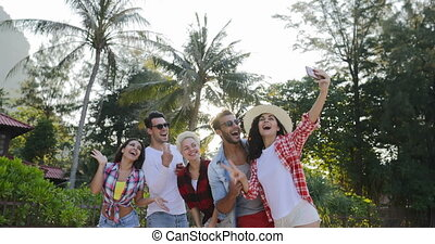 People Group Taking Selfie Photo On Cell Smart Phones Happy...