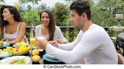 People Group Talk Eating Healthy Vegetarian Food, Friends...