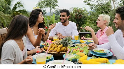 People Group Talk Eating Healthy Vegetarian Food, Friends Communication Sitting At Table On Tropical Terrace Pov