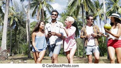 People Group Talking Communication Walk Outdoors Through ...