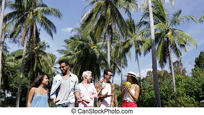 People Group Talking Holding Coconut Walk Outdoors Through...