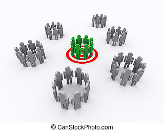 3d Illustration of one group target