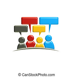 People Group Teamwork Logo. 3D Rendering illustration