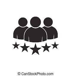 People group with 5 stars vector icon premium product quality rating flat logo. Team work symbol. Group of humans sign For your web site design, logo, app, UI. illustrationlogo