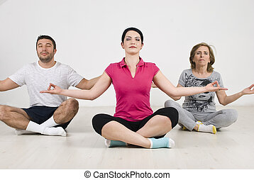 People group yoga lotus position