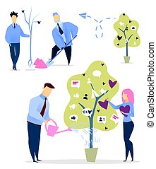 People Growing and Watering Tree with Likes Set