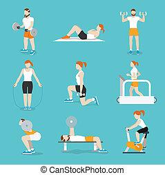 People gym exercises icons set - People training exercise...