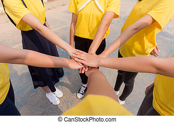 People Hand Assemble Corporate Meeting Teamwork Concept.