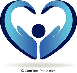 People hand blue love heart logo