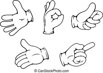 People hand gestures set in cartoon comics style