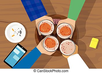 People Hand Group Hold Beer Glasses Bar Table Cheers