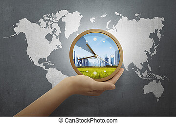 Hand holding dollar chess on 3d map globe with clock hand holding people hand holding clock with world map gumiabroncs Image collections