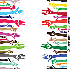 People support hand like heart united seamless background. Vector vertical pattern illustration .