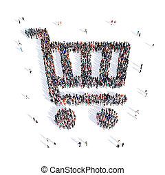 people handcart shape 3d
