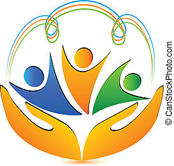 People hands and connections logo