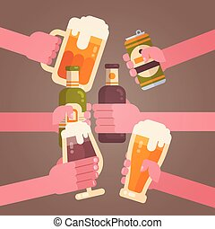 People Hands Clinking Beer Cheering Party Celebration Festival Concept
