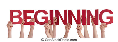 Many Caucasian People And Hands Holding Red Straight Letters Or Characters Building The Isolated English Word Beginning On White Background