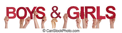 People Hands Holding Red Straight Word Boys Girls
