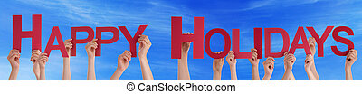 People Hands Holding Red Straight Word Happy Holidays Blue Sky