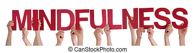 People Hands Holding Red Straight Word Mindfulness - Many...
