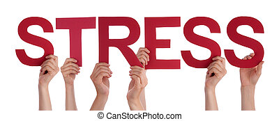 People Hands Holding Red Straight Word Stress
