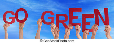 People Hands Holding Red Word Go Green Blue Sky